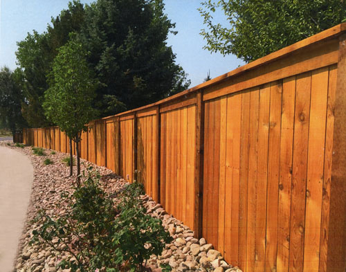 Capped Redwood Privacy Fence in Lone Tree