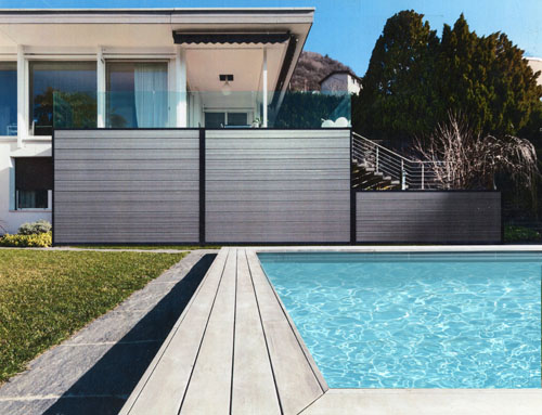 Horizontal Composite Privacy Pool Fence in Lakewood