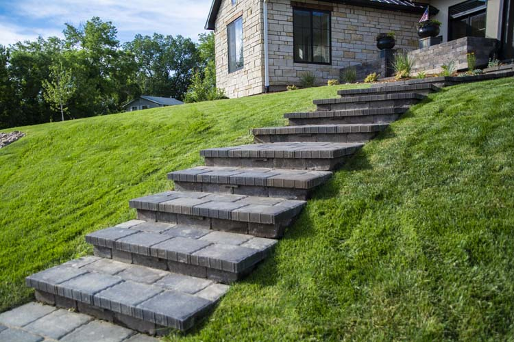 Side view of stone steps