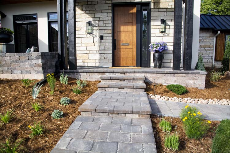 Front elevation of house with stone paver walkway