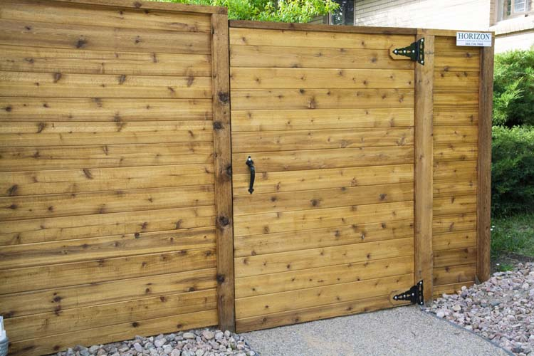 Cedar gate and black hinges and handle