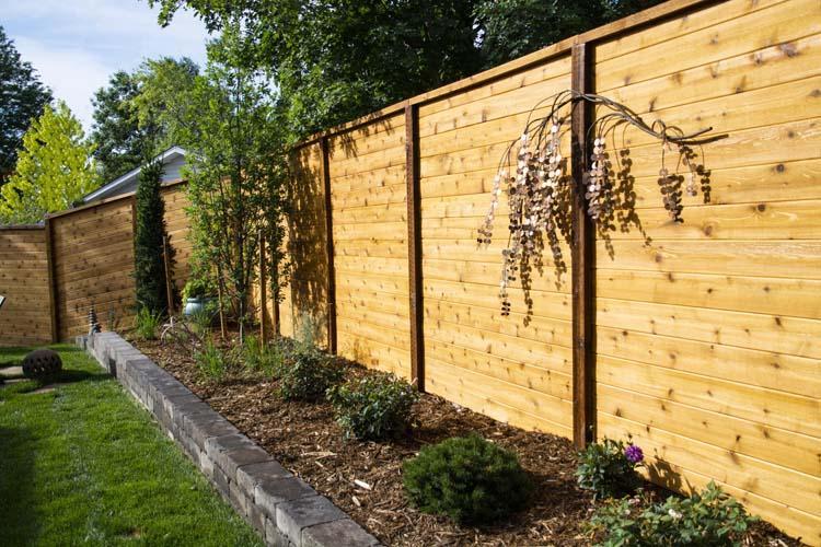 Cedar wood horizontal fencing
