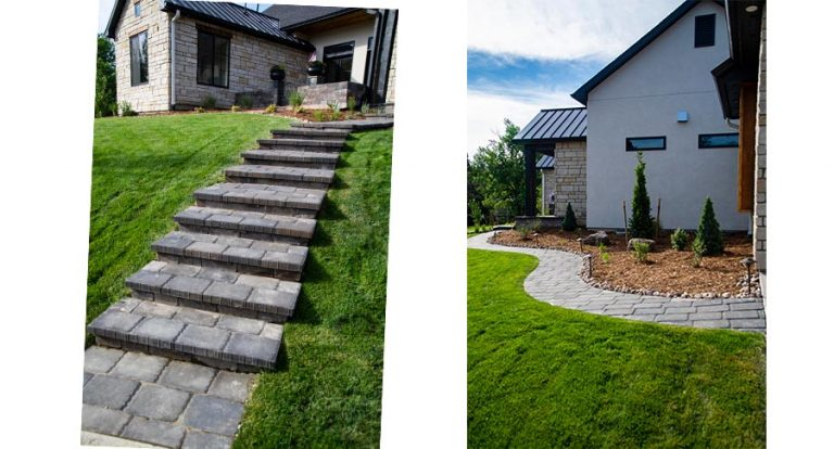 Stone paver stairs leading up to front door and stone paver path around side of house
