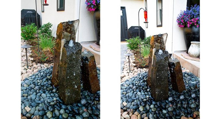Three upright stones create a bubbling fountain